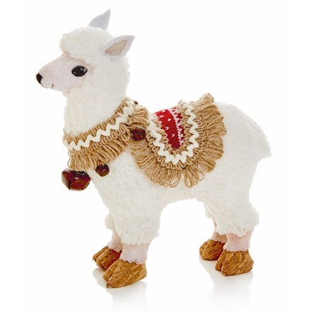 White llama with knitted coat