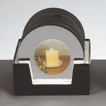 Round glass mirror candle plate