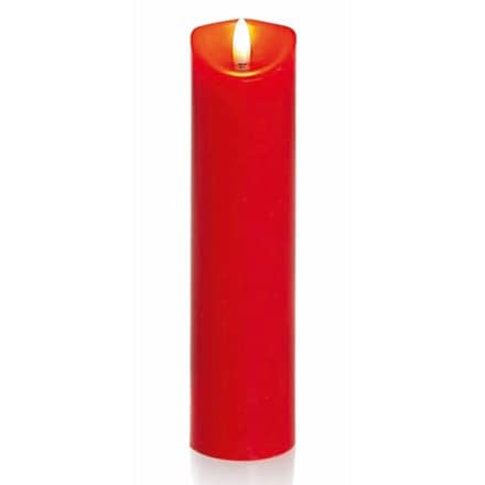 Red pillar candle with flickerbright flame