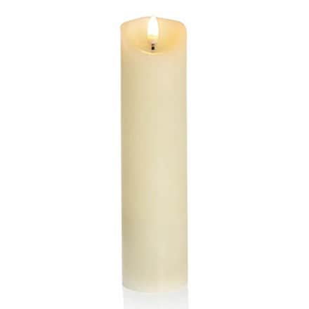 Cream pillar candle with flickerbright flame