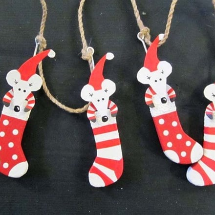 Mice in stockings garland
