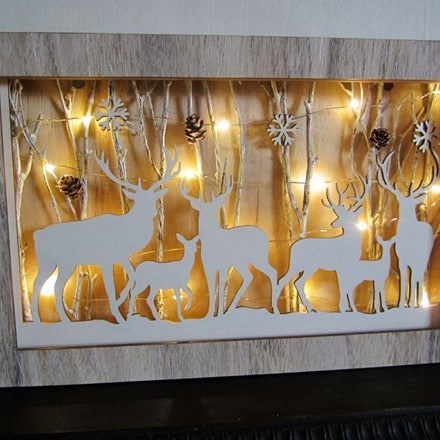 Deer herd in shadow box