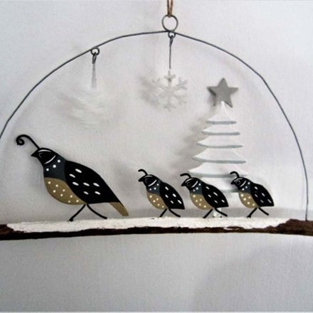 Quail family with tree