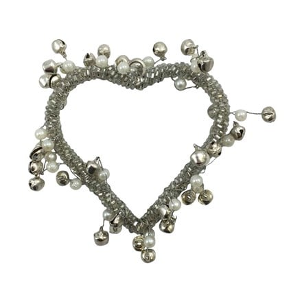Hanging pearl and silver jingle heart