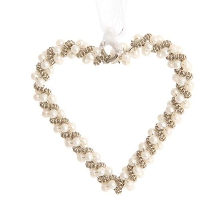 Hanging silver pearl heart chain