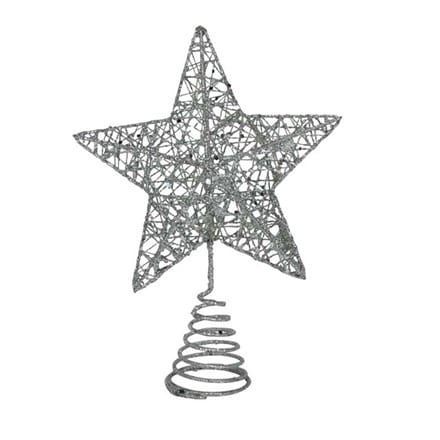Silver wire mesh tree top star