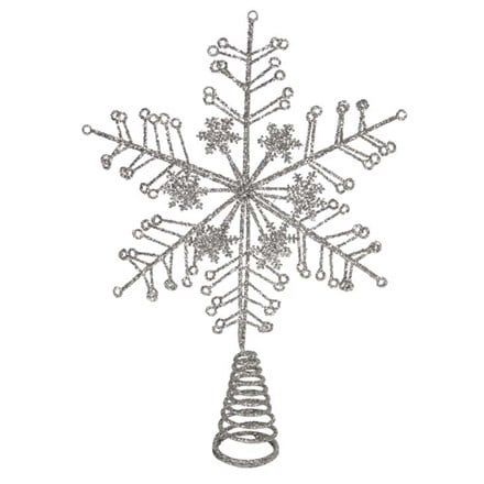 Silver glitter snowflake tree top star