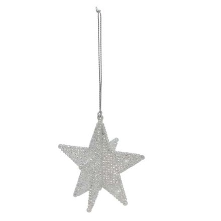 Pale silver 5 point star decoration