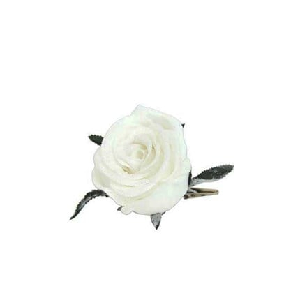 White fabric rose clip