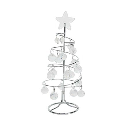 Silver coil wire mini tree with crystals