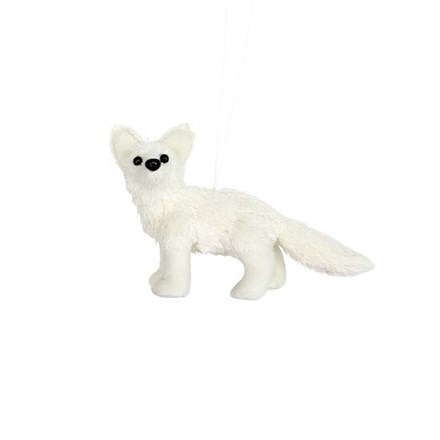 White fabric/bristle baby fox decoration