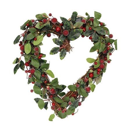LED mixed foliage heart wreath