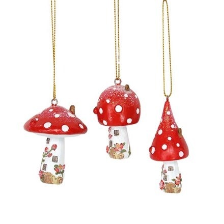 Resin toadstool house decoration