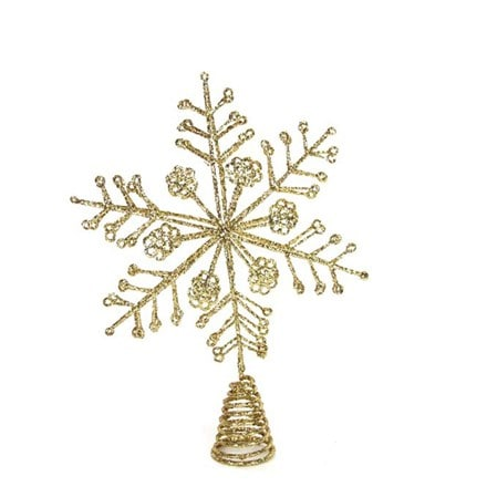 Gold glitter wire snowflake tree topper