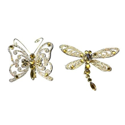 Gold glitter jewel clip on insect