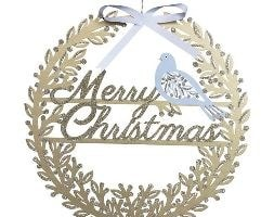 Fretwork wood Merry Christmas dove