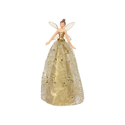 Gold glitter fabric/resin tree top fairy