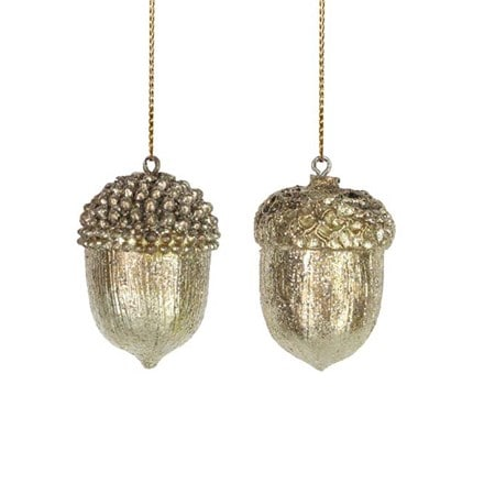 Gold resin acorn decoration