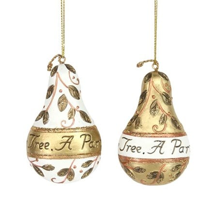 Resin pear with sentiment decoration