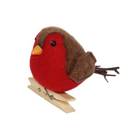 Felt/twig robin on peg