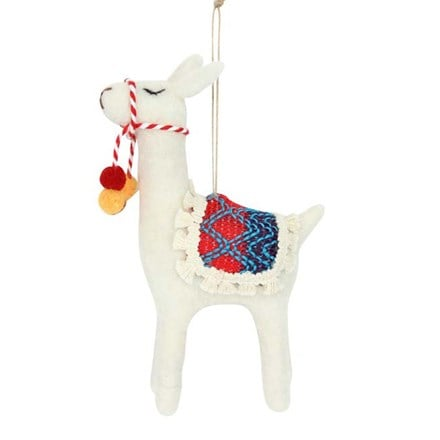 Wool mix llama decoration