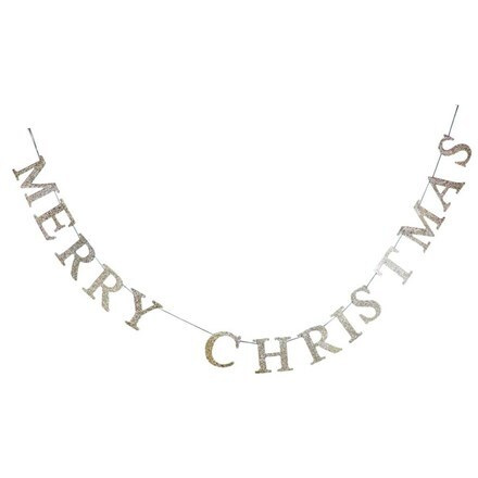 Gold glitter wood Merry Christmas garland