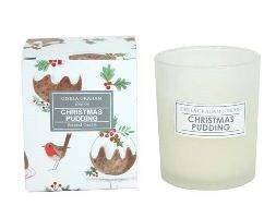 Plum pudding boxed candle