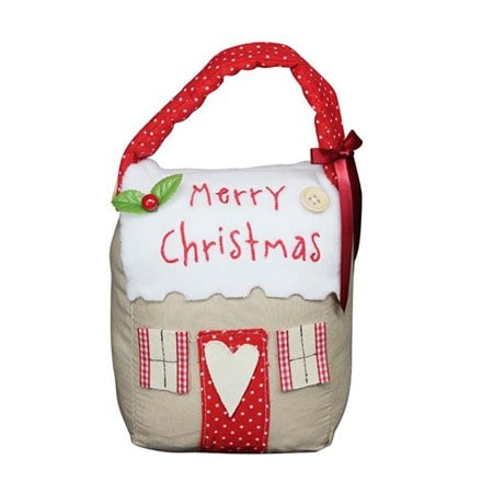 Fabric Christmas cottage door stop