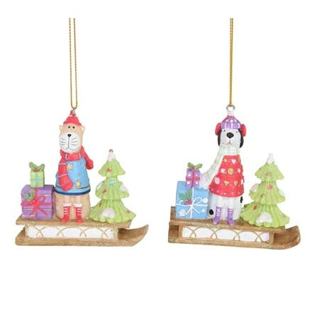 Resin animal on sledge decoration