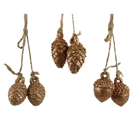 Gold acorn/cone pair on string