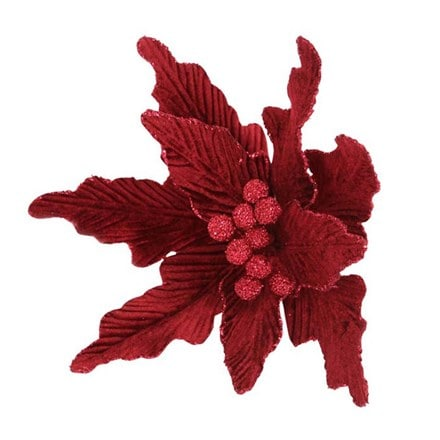 Dark red velvet poinsettia clip