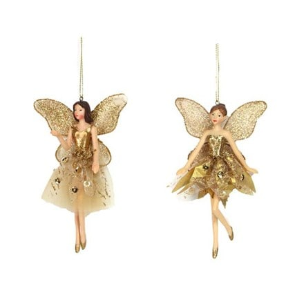 Gold fabric/resin ballerina fairy