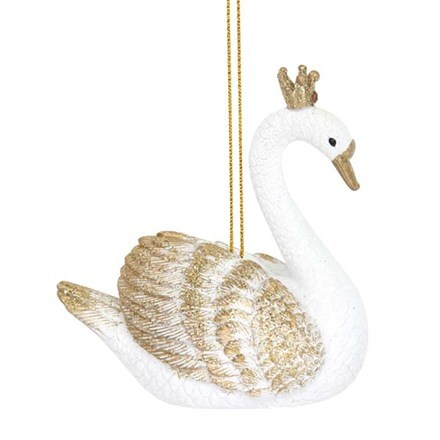 White/gold resin swan decoration