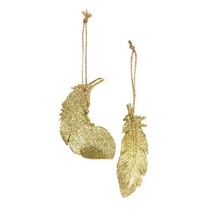Gold glitter resin feather decoration