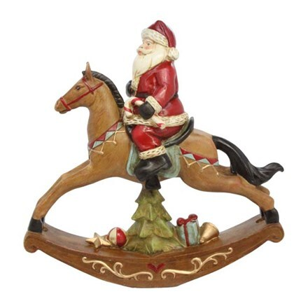 Resin Santa on rocking horse ornament