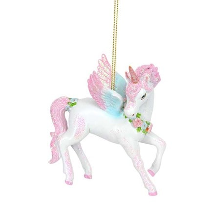 Resin white and pink unicorn decoration