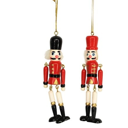 Jointed wood nutcracker decoration