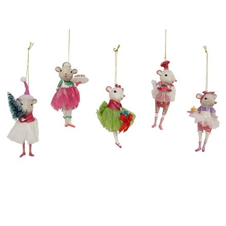 Resin/fabric white mouse ballerina decoration
