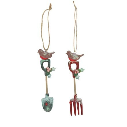 Resin garden tools with robin decoration