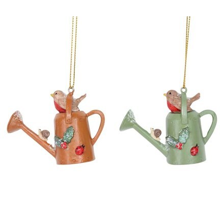 Christmas watering can with robin