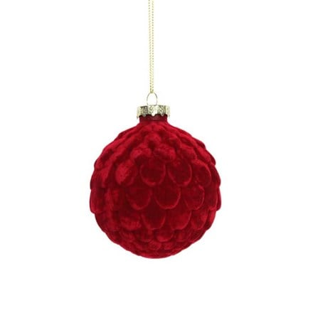 Cherry red flocked artichoke bauble