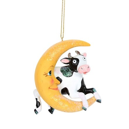 Resin cow jumps over the moon decoration