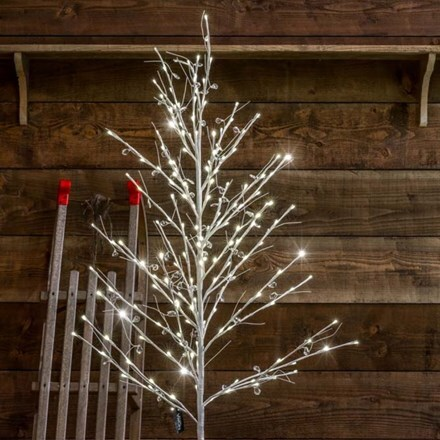 Beaded white twig tree 120cm