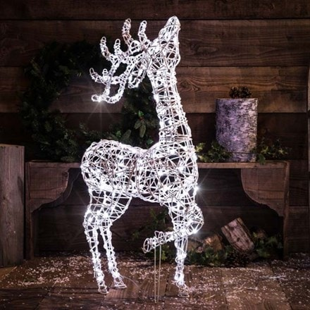 White wicker effect standing deer 1m