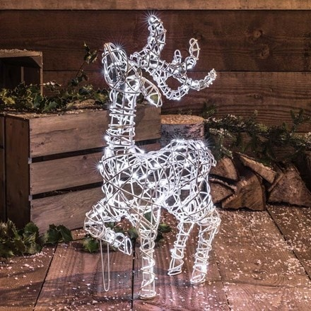 White wicker effect standing deer 60cm