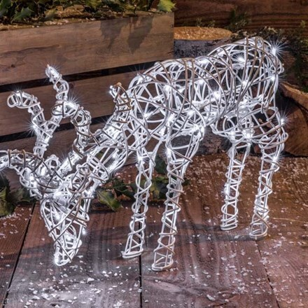 White wicker effect grazing deer 50cm