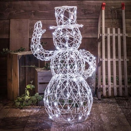 White wicker effect snowman 1m