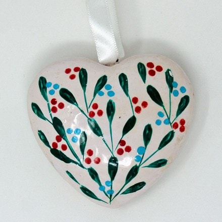 Small heart decoration - winter leaves