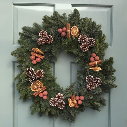 Spicy chocolate orange natural fir wreath