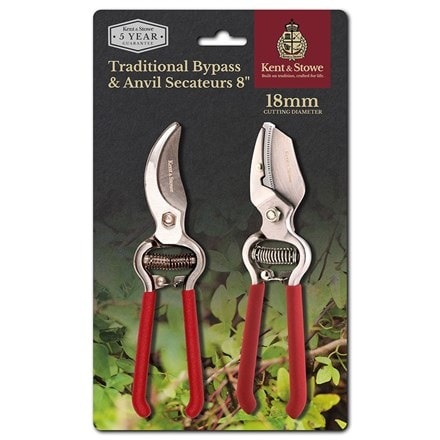 Kent and Stowe traditional bypass and anvil secateurs set